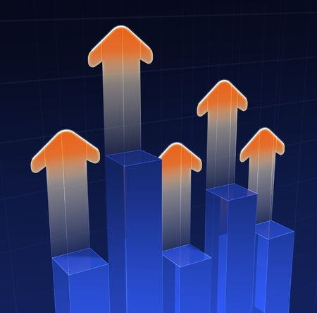 tabulation: Bar graph with arrows Stock Photo