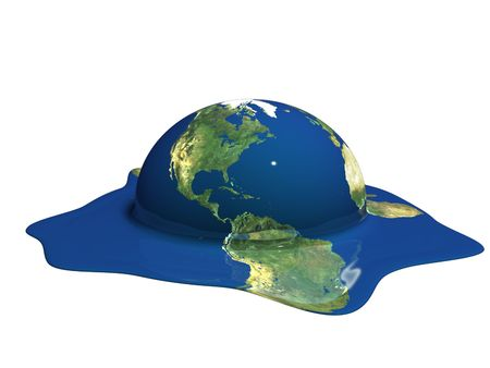 Melting earth. Global warming. Climate change. photo