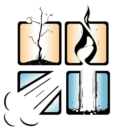 4 つの主要な要素のベクトル表現。  イラスト・ベクター素材