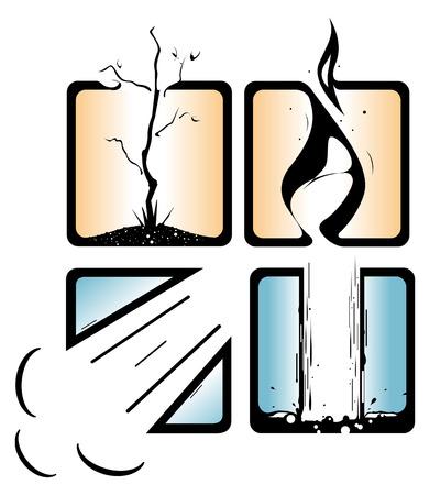 air flow: Vector rappresentanza dei 4 elementi principali.