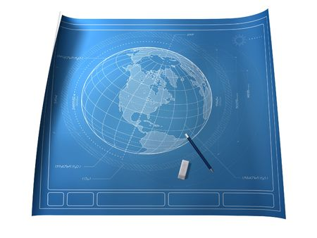 Blueprint of Earth Illustrating Intelligent Design Stock Photo