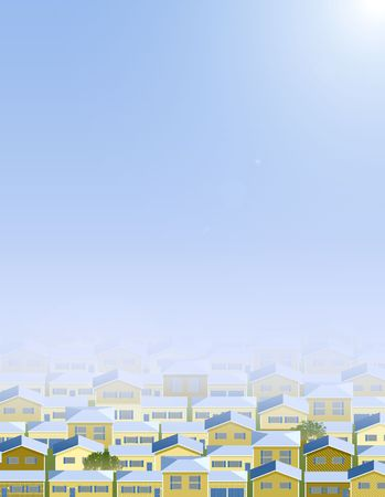 Background of multiple houses, spring time.