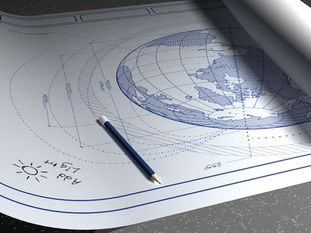 architect drawing: Architectural plans for the planet earth. Stock Photo