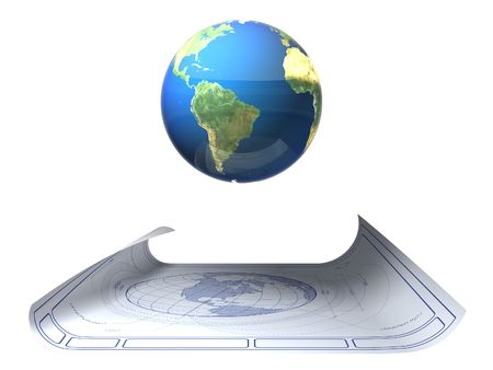 Earth blueprint with floating globe Stock Photo