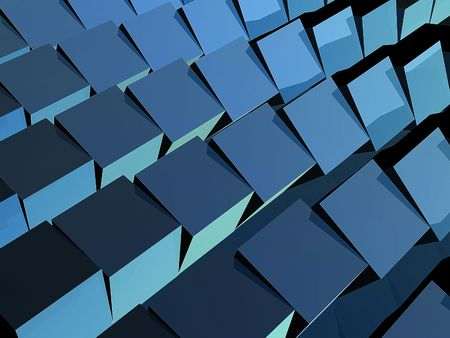 staggered: Floor of staggered, rotated cubes. Stock Photo