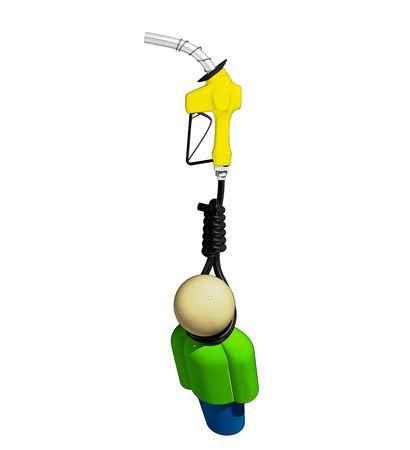 Simplistic man hanging from a gas pump hose. Banco de Imagens