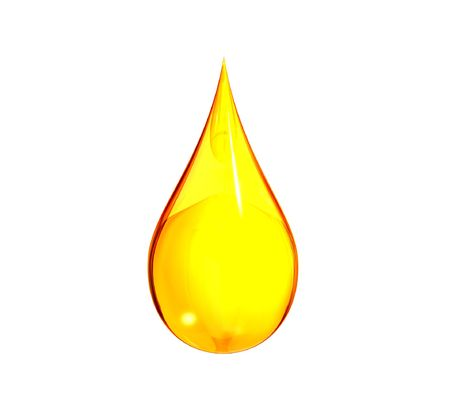 oil drop: Isolated rendering of a drop of gasoline. Stock Photo