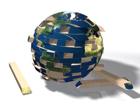 perplexing: Jenga estilo rompecabezas en forma de la tierra. Mundo cayendo a pedazos.  Foto de archivo