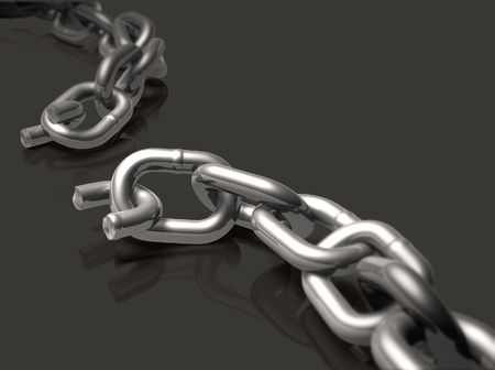 Broken chain with depth of field effect.