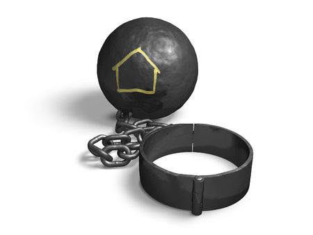 hinder: Steel ball with house shape on a chain and shackle. Stock Photo