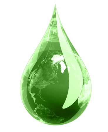 Water droplet in green hue with the earth engulfed in it.