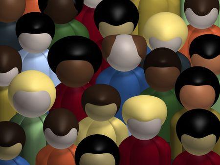 oneness: Vista aerea di una societ� diversa, multirazziale folla di persone.