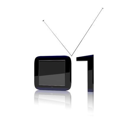 digital television: Digital television depicted as binary code. Stock Photo