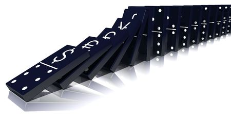 World economic crisis illustrated by major currency emblems stamped on falling dominos.