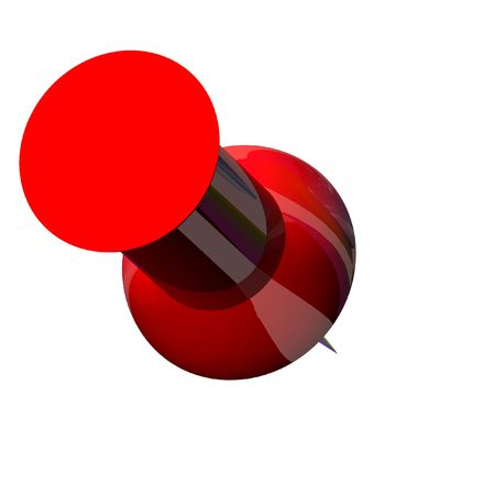 push: Isolated plastic red push pin Stock Photo
