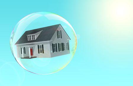 housing crisis: House floating inside a bubble.  Fragile housing market.