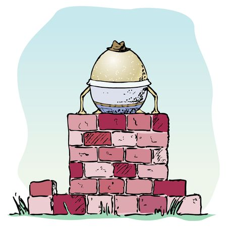 rhyme: Fragile egg sitting on a brick wall.