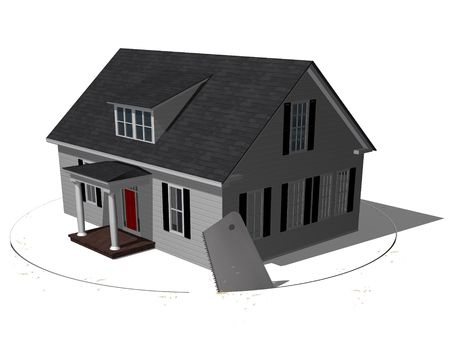 foreclosed: House resting on a surface thats being cut out from underneath.  Foreclosed.