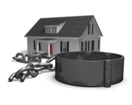 cadena rota: Casa con una cadena rota y los grilletes.