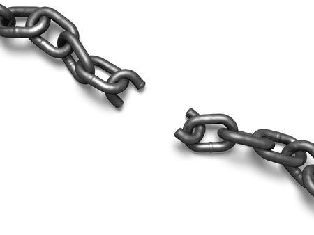 cadena rota: Broken chain desde una perspectiva superior. Foto de archivo