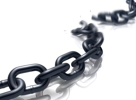 Heavy duty chain on a reflective floor breaking. Stock Photo - 5549219