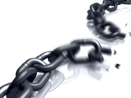 unchained: Close-up view of a heavy duty chain in the process of breaking.