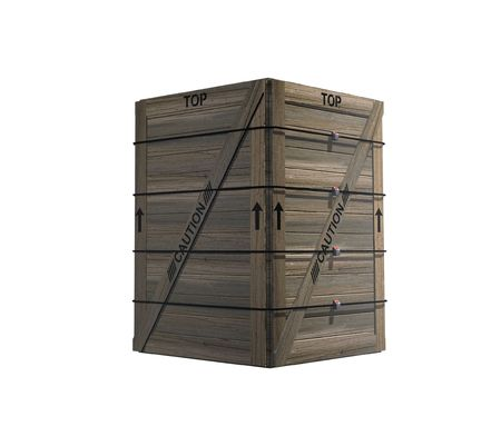 An isolated wooden crate with four straps holding it together. Stock Photo