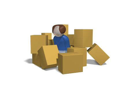 3 dimensional character with glasses surrounded by cardboard boxes.