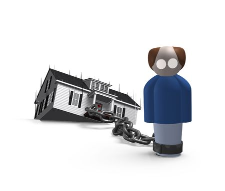 servitude: 3D character with glasses chained to a house thats falling off the edge.