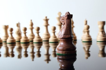 Opposing knight chess piece facing enemies. Stock fotó
