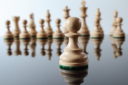 Light colored, wooden pawn in front of other chess pieces.