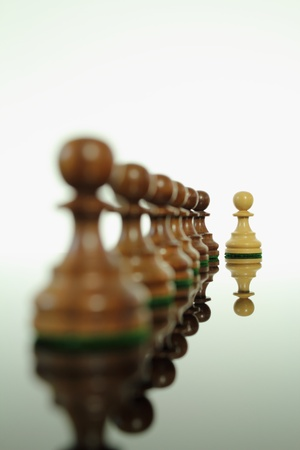 Light colored wooden chess pawn standing out from the rest.
