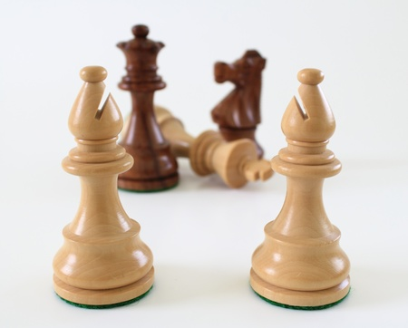 Light colored, wooden chess bishops stunned by the defeat of the king. Stok Fotoğraf - 10544685