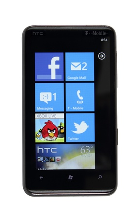 HTC HD7 running windows phone 7 operating system.
