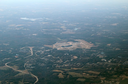 developed: Aerial view of developed area in Georgia, USA.