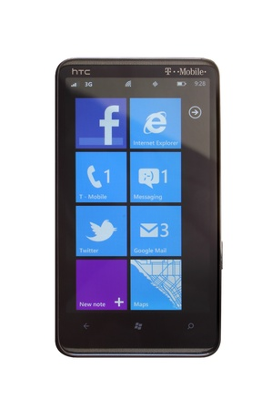 Blue theme of the Windows Phone 7.5 Mango.