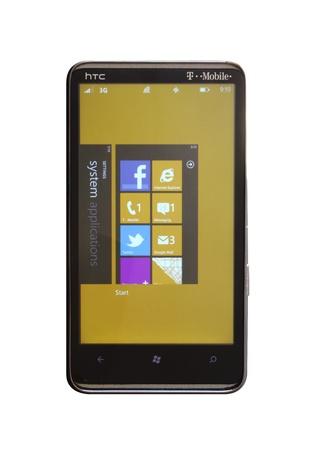 HTC HD7 running Windows Phone 7.5 Mango update.