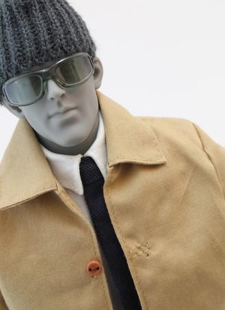 ビジネスと冬服男性の解剖学的アーティスト マネキンの肖像画を包んだ。 写真素材