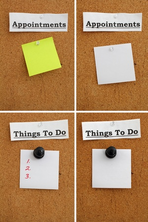 paper pin: White strip of paper with the word Appointments pinned to a cork board with a post it note underneath. Stock Photo