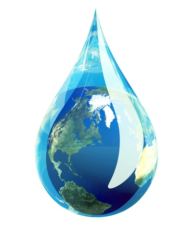 conserve: Water droplet with the planet earth inside it.