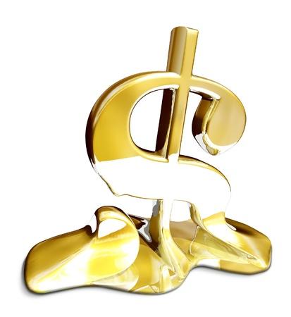 meltdown: Melting dollar sign to illustrate economy problems