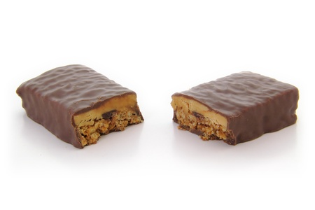 angle bar: High angle view of chocoalte protein bar cut in half. Stock Photo