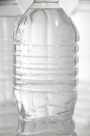 Close-up of plastic bottled water.