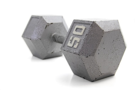 hand weight: Old, 50 pound exercise dumbbell hand weight