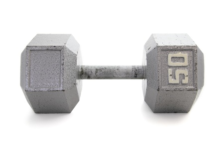 Old, gray, hexagonal shapped dumbbell handweight  Stock fotó