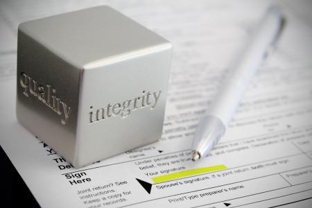 vignette: Tax preparation honesty concept with vignette effect