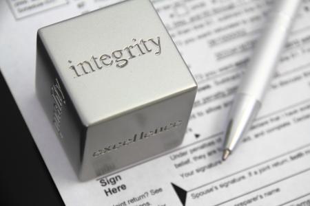 integridad: La preparación de impuestos concepto de integridad