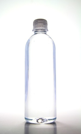 Bright, clear, tall water bottle.
