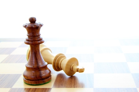 vanquish: Two wooden chess pieces alone on a chess board.