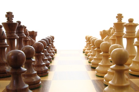 opponents: Chess opponents set up close together. Stock Photo